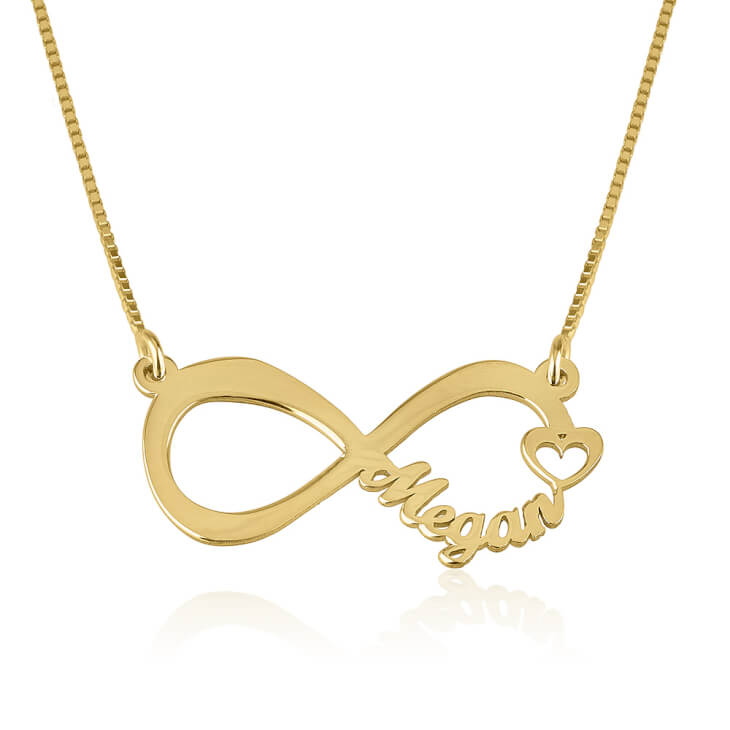 24K Gold Plated Cut Out Name Infinity Necklace
