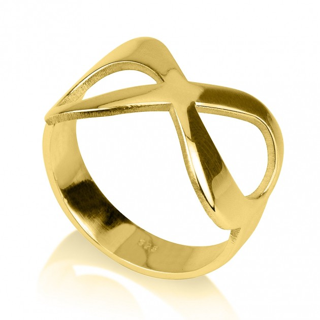 24k gold plated plain infinity ring onecklace