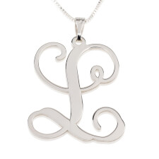 Sterling Silver Curl Initial Necklace