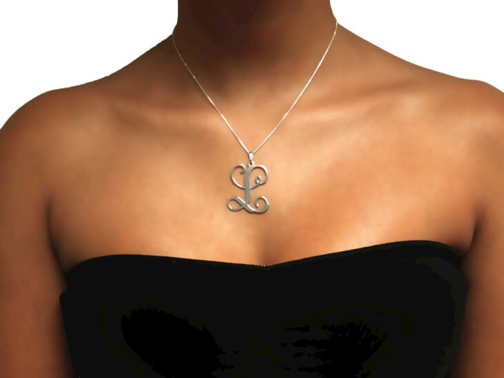 Sterling Silver Curl Initial Necklace - Picture 2