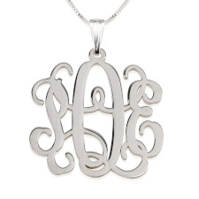 Sterling Silver Curly Monogram Necklace