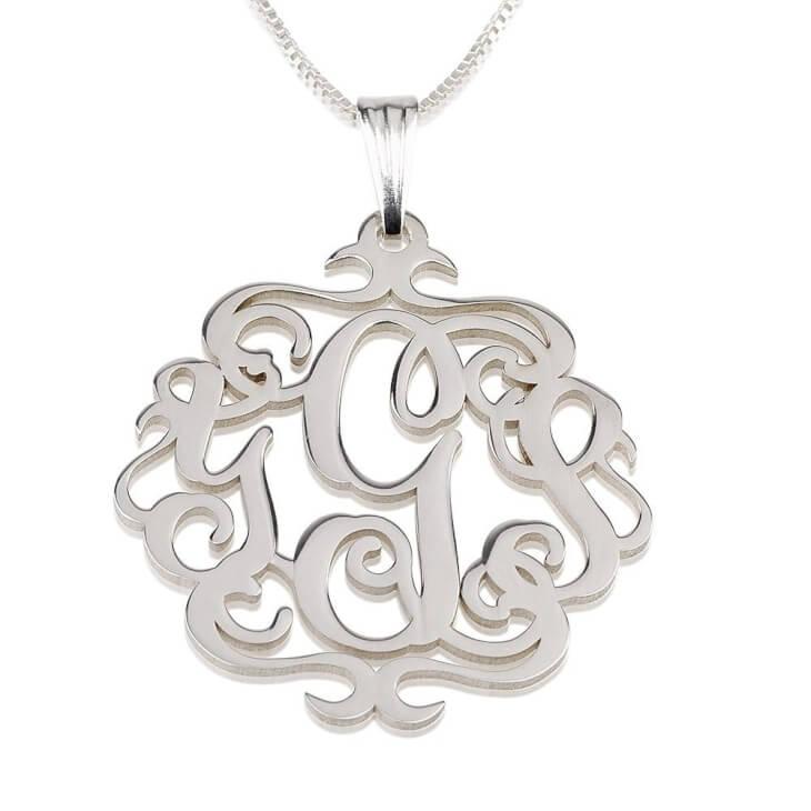 Sterling Silver Swirly Monogram Necklace