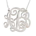 Sterling Silver Split Chain Monogram Necklace  - Thumb
