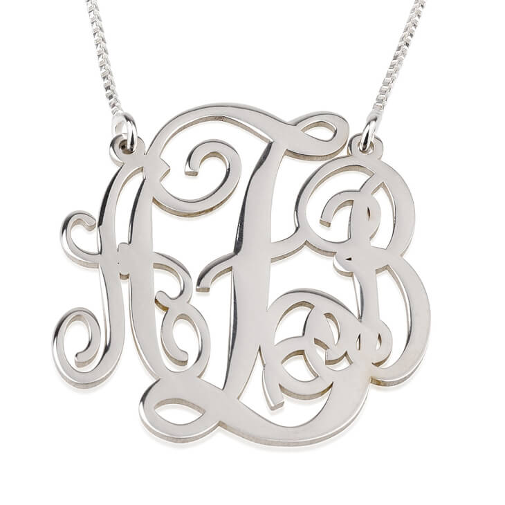 Collier Monogramme trait d'union en Argent