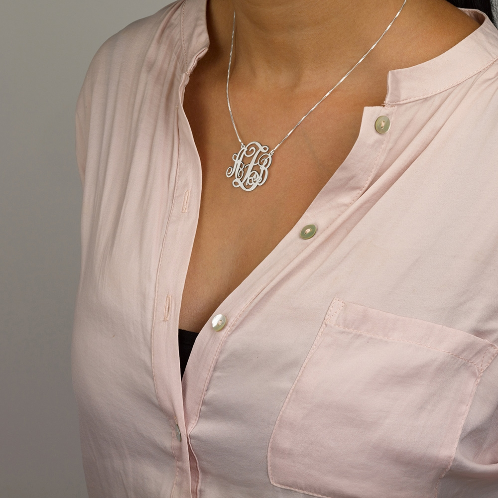Sterling Silver Split Chain Monogram Necklace  - Model