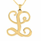 24K Gold Plated Curly Initial Necklace
