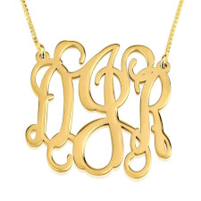 Collier Monogramme Ondulé trait d'union en Plaqué Or