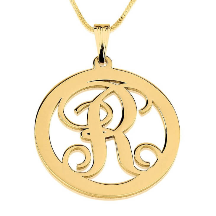 24K Gold Plated Circle Initial Necklace