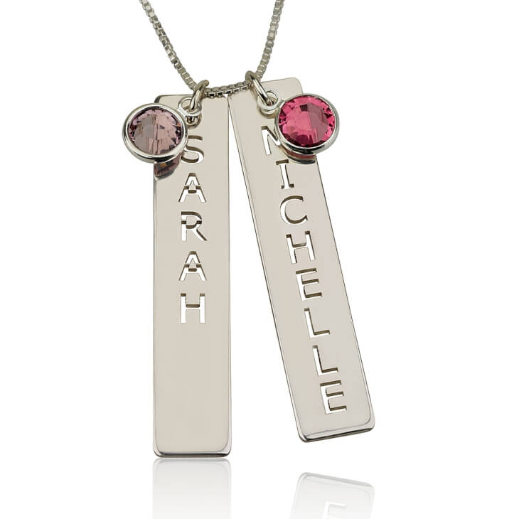 Sterling Silver Vertical Bar Necklace with Two Names - Picture 2