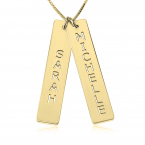 24K Gold Plated Vertical Bar Necklace with Two Names - Thumb