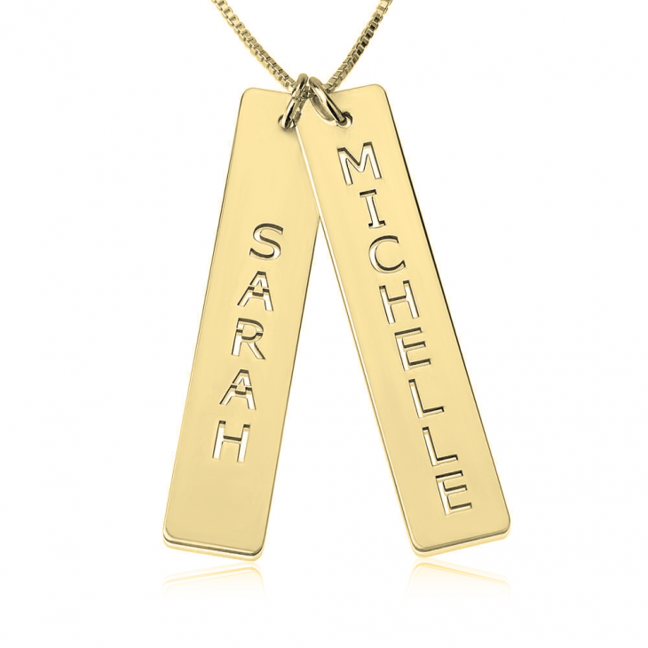 24K Gold Plated Vertical Bar Necklace with Two Names