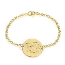 24K Gold Plated Engraving Monogram Bracelet