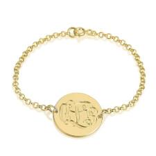 24K Gold Plated Engraving Monogram Bracelet