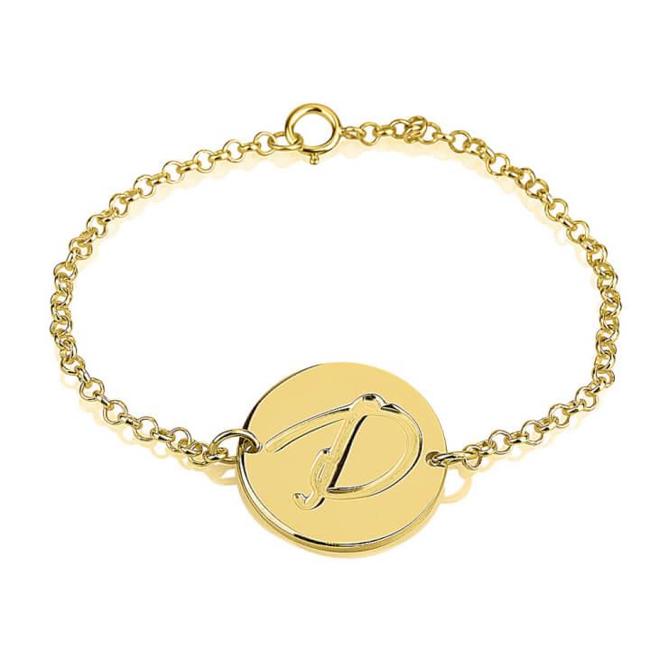 24K Gold Plated Initial Bracelet