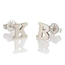 Sterling Silver Stud Letters Earrings