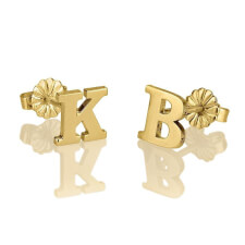 24K Gold Plated Stud Letters Earrings