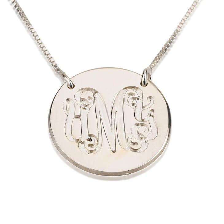 Sterling Silver Medallion Monogram Necklace