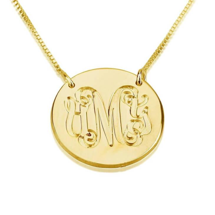 24K Gold Plated Medallion Monogram Necklace