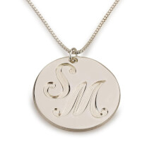 Sterling Silver Medallion Initials Necklace