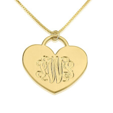 24K Gold Plated Engraved Heart Monogram Necklace