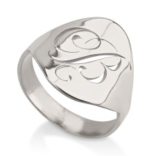Sterling Silver Engraved Initial Ring