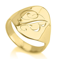 24K Gold Plated Engraved Initial Ring