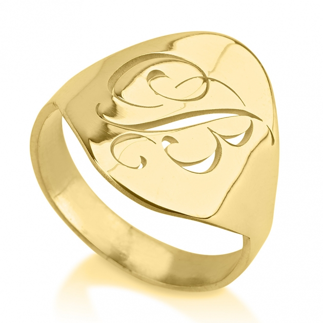 24k gold plated engraved initial ring onecklace