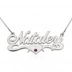 14K Gold Swarovski with Middle Heart Name Necklace - Thumb