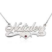14K Gold Swarovski with Middle Heart Name Necklace
