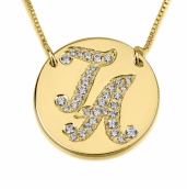 24K Gold Plated Cubic Zirconia Medallion Initial Necklace