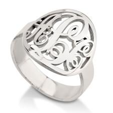 Sterling Silver Framed Monogram Ring