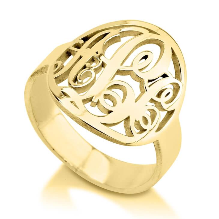 24K Gold Plated Framed Monogram Ring