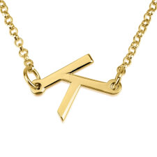 24K Gold Plated Slanted Initial Letter Necklace