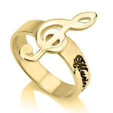 24K Gold Plated Musical Note Name Ring