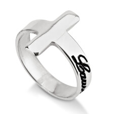 Sterling Silver Cross Name Ring
