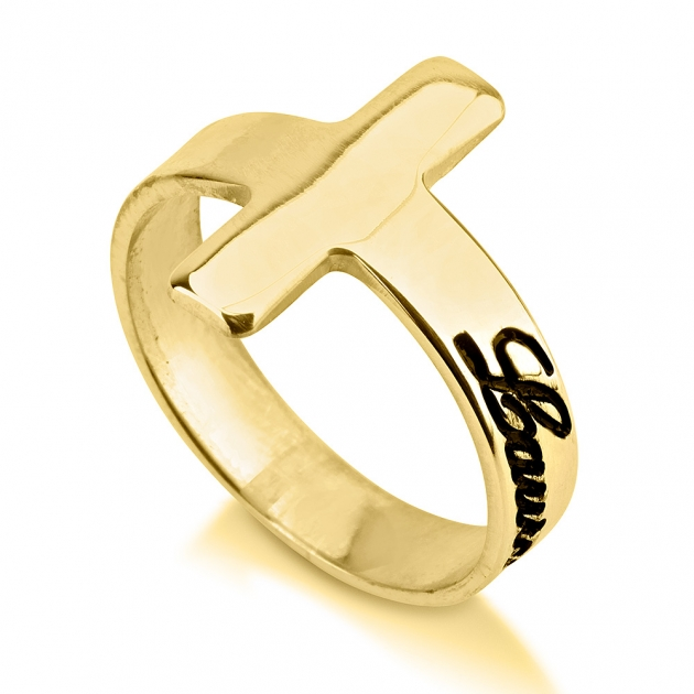 24k gold plated cross name ring onecklace