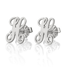 Sterling Silver Stud Curled Letter Earrings