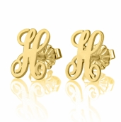 24K Gold Plated Curled Letter Earrings