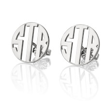 Sterling Silver Stud 3 Letter Capital Border Monogram Earrings