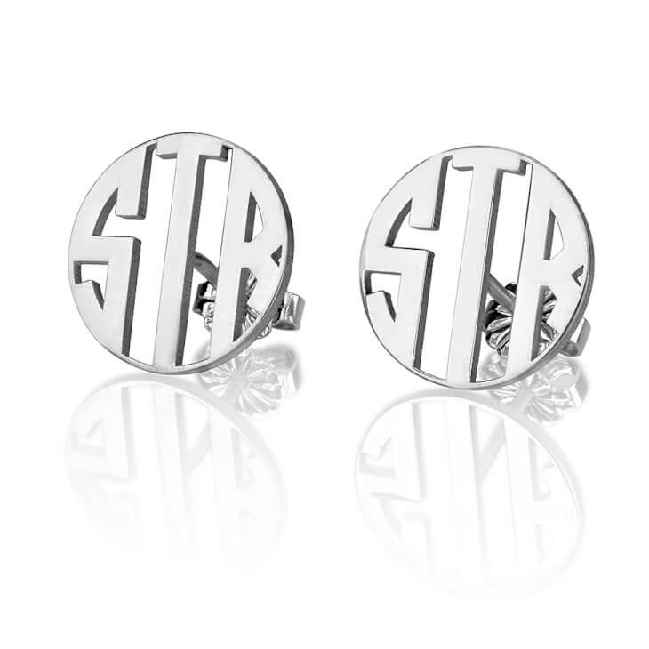 Sterling Silver Stud 3 Letter Capital Border Monogram Earrings