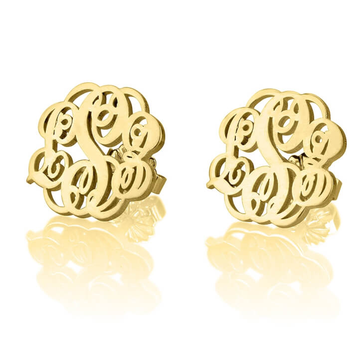 24K Gold Plated Stud Monogram Earrings