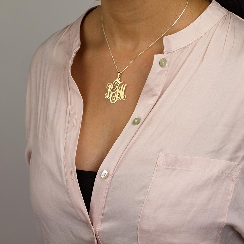 14K Gold Monogram Necklace - Model