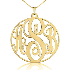 14K Gold Circle Monogram Necklace