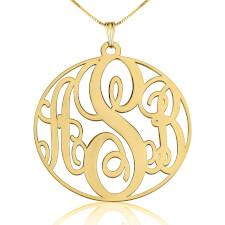 14K Gold Circle Monogram Necklace