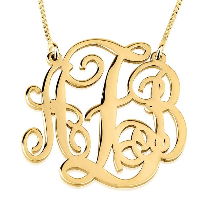 14K Gold Split Chain Monogram Necklace