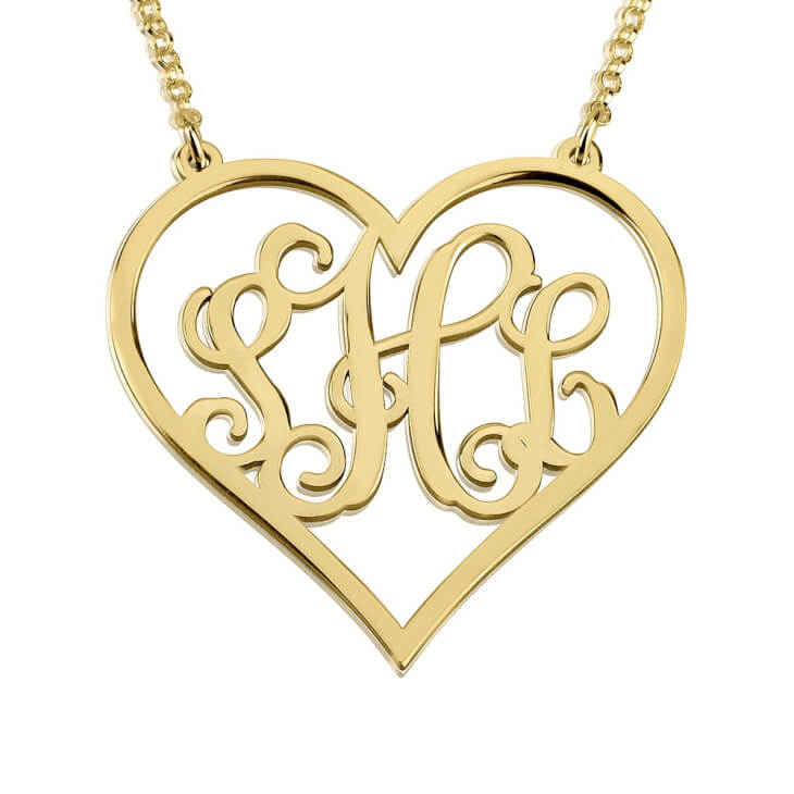 24k Gold Plated Heart Monogram Necklace