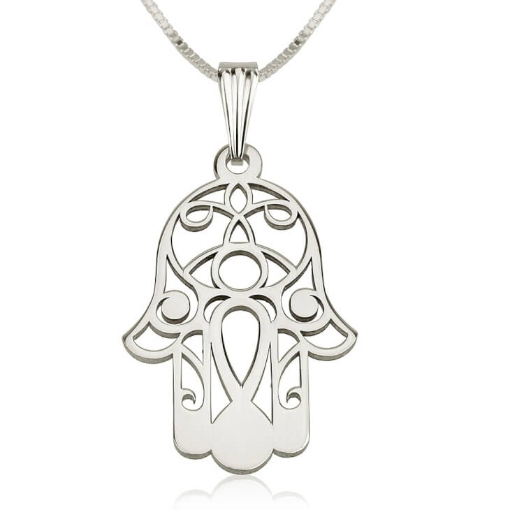 Sterling Silver Hamsa Hand (Hand of Fatima) Necklace