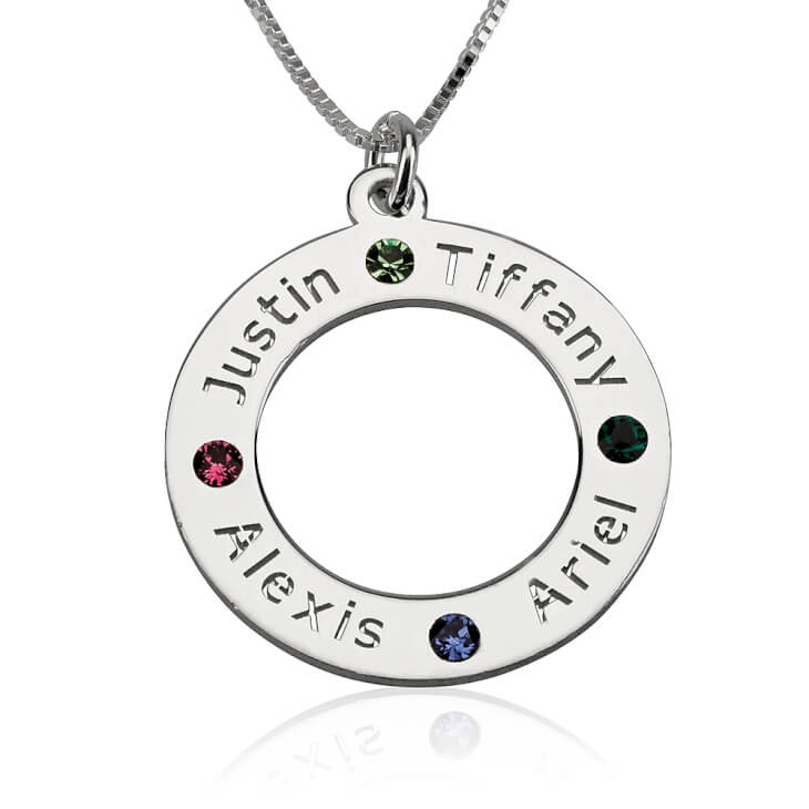 Sterling Silver Engraved Family Name Birthstone Necklace  - Picture 5