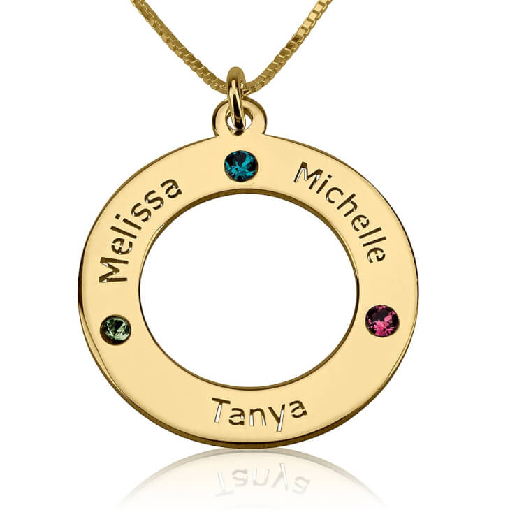 24K Gold Plated Engraved Family Name Birthstone Necklace  - Picture 4