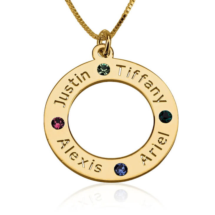 24K Gold Plated Engraved Family Name Birthstone Necklace  - Picture 5